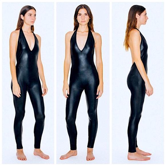 8d37a868a31c American Apparel Pants - American Apparel Metallic Black halter catsuit